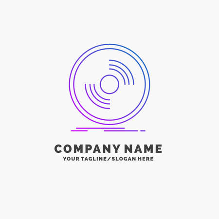 Disc, dj, phonograph, record, vinyl Purple Business Logo Template. Place for Tagline