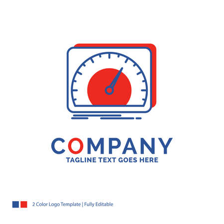Company Name Logo Design For dashboard, device, speed, test, internet. Blue and red Brand Name Design with place for Tagline. Abstract Creative Logo template for Small and Large Business.