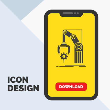 Automation, factory, hand, mechanism, package Glyph Icon in Mobile for Download Page. Yellow Background