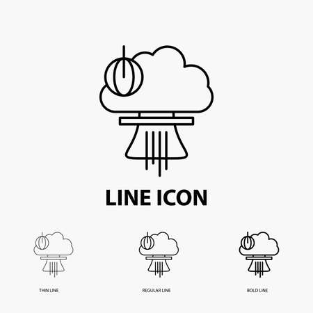 Bomb, explosion, nuclear, special, war Icon in Thin, Regular and Bold Line Style. Vector illustration