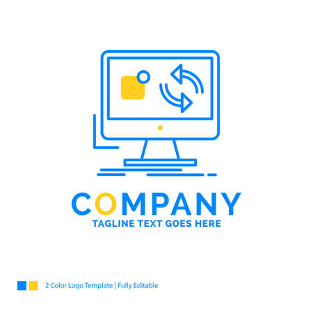 update, app, application, install, sync Blue Yellow Business Logo template. Creative Design Template Place for Tagline.