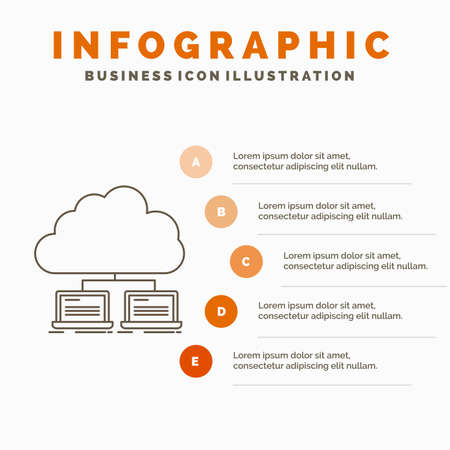 cloud, network, server, internet, data Infographics Template for Website and Presentation. Line Gray icon with Orange infographic style vector illustration Vectores