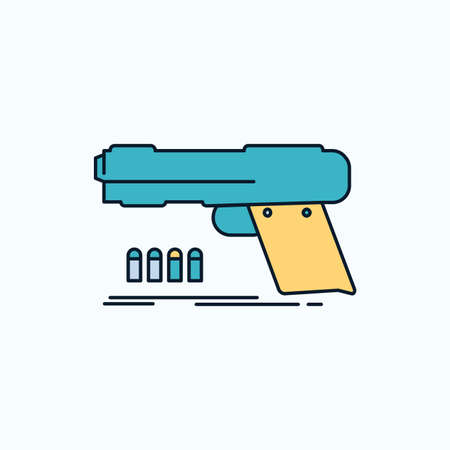 gun, handgun, pistol, shooter, weapon Flat Icon. green and Yellow sign and symbols for website and Mobile appliation. vector illustration