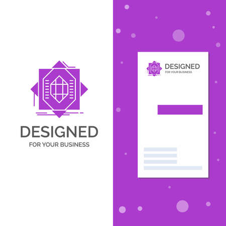 Business Logo for Abstract, core, fabrication, formation, forming. Vertical Purple Business / Visiting Card template. Creative background vector illustration