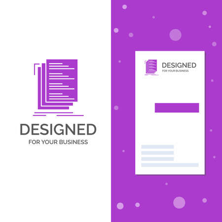 Business Logo for Code, coding, compile, files, list. Vertical Purple Business / Visiting Card template. Creative background vector illustration