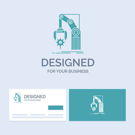 Automation, factory, hand, mechanism, package Business Logo Glyph Icon Symbol for your business. Turquoise Business Cards with Brand logo template.