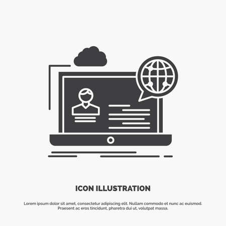 webinar, forum, online, seminar, website Icon. glyph vector gray symbol for UI and UX, website or mobile application