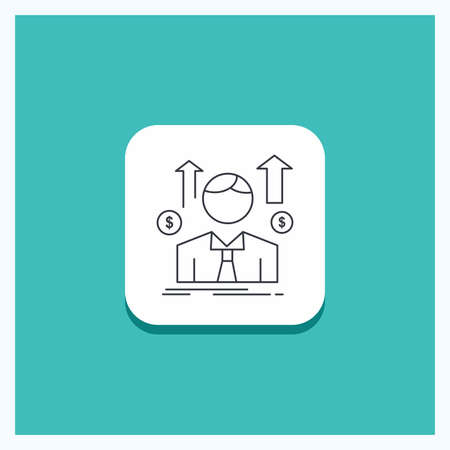 Round Button for Business, man, avatar, employee, sales man Line icon Turquoise Background Stock Illustratie