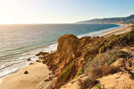 zuma: Rock formation by ocean on Point Dume Beach Malibu California
