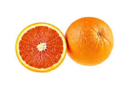Juicy orange fruit and a half isolated on white background Imagens