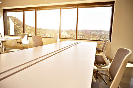 bod: Conference room. Modern office with windows and city view. Stock Photo