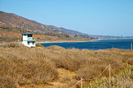 rescue west: Lifeguard hut on the Malibu beach. California