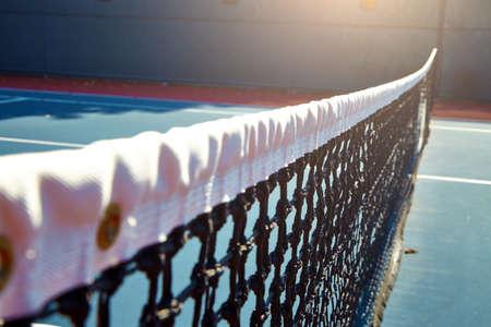 arbiter: Outdoor tennis court with nobody in Malibu California Stock Photo