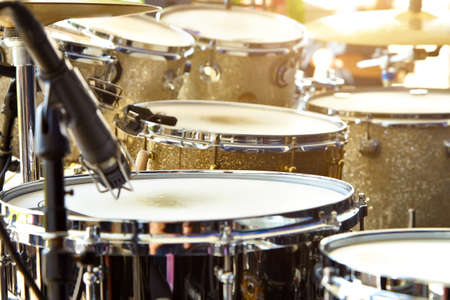 Acoustic drum set on stage before the concert. Stock Photo