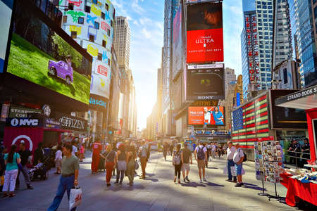 NEW YORK CITY - JUNE 14, 2016: Times Square. Skyscrapers Editorial