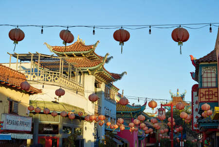 frisco: Beautiful red Chinese lanterns in Chinatown of Los Angeles, California, USA