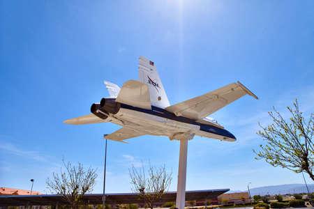 interceptor: The NASA F18 aircraft on the pedestal near the Lancaster JetHawks California USA.