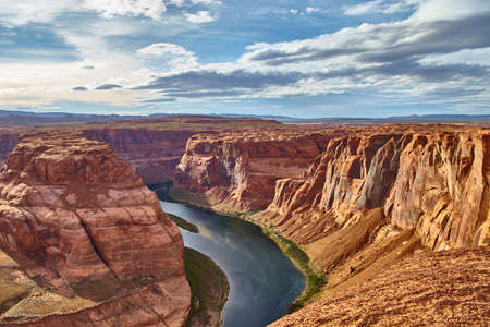 Incredibly beautiful view of Horseshoe Bend at Antelope Canyon National Park, Arizona USA Stock Photo