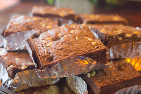 close up chocolate brownies