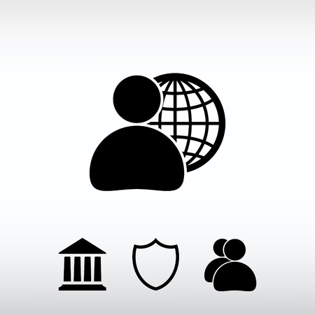 global business, business man icon, vector illustration. Flat de