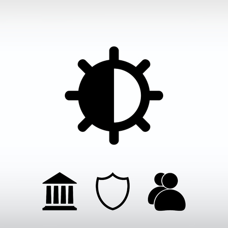 brightness: brightness and contrast  icon, vector illustration. Flat design