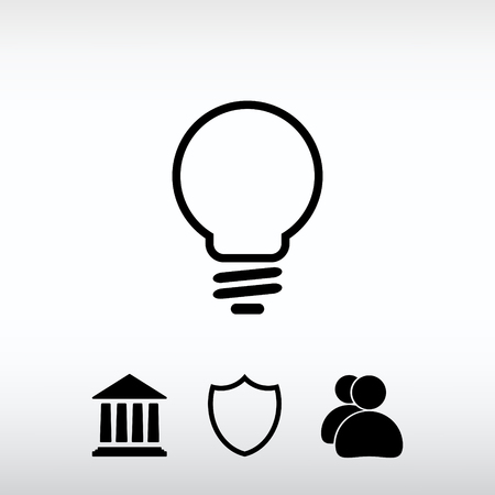 Light bulb  icon, vector illustration. Flat design style