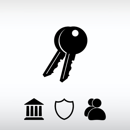Schlüssel-Symbol, Vektor-Illustration. Flache Design-Stil