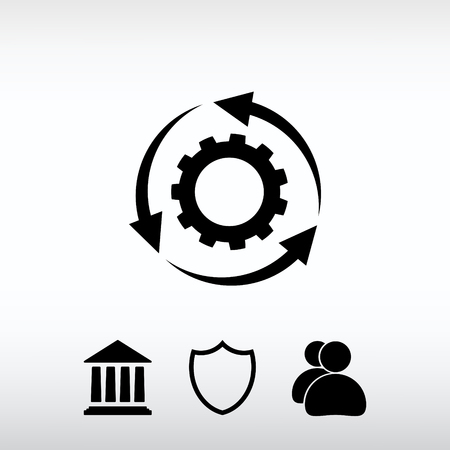 groupware: setting parameters, circular arrows  icon, vector illustration.