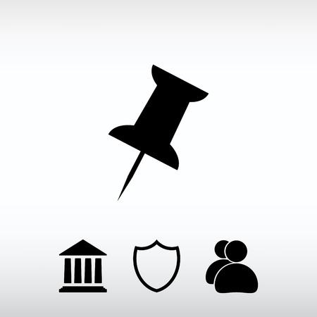 push pin icon, vector illustration. Flat design style