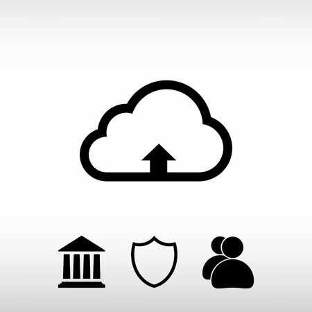 This image represents a cloud upload illustration icon, vector i