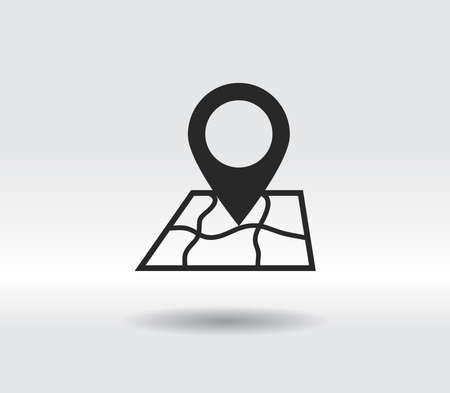 Map with pointer icon, vector illustration. Flat design style