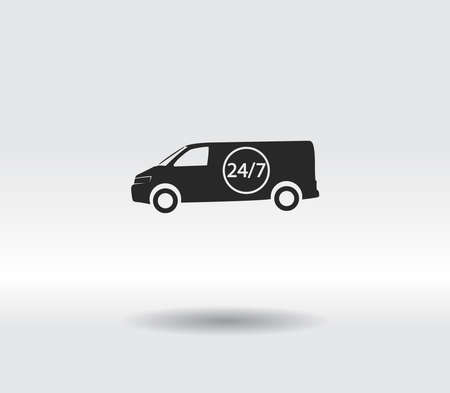 Curgu icon, Delivery 24 hours a day and 7 days a week icon, vector illustration. Flat design 일러스트