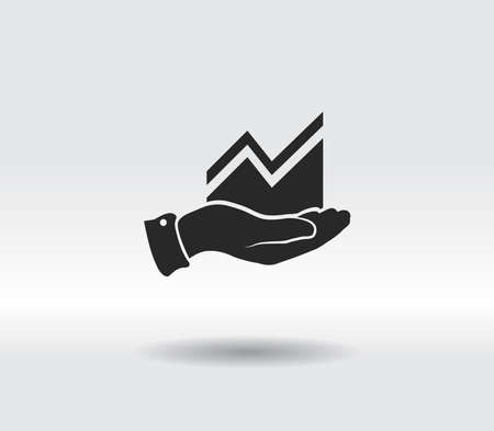 Infographic with hand, chart icon, vector illustration. Flat design style