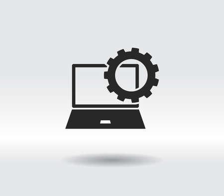 setting parameters, laptop icon, vector illustration. Flat design style 일러스트