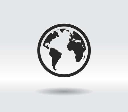 globe icon, vector illustration. Flat design style 일러스트