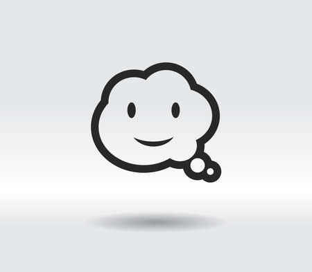 smile talking bubble icon, vector illustration. Flat design style 일러스트