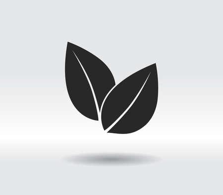 Leaf icon, vector illustration. Flat design style