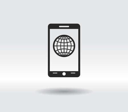 mobile smartphone icon, vector illustration. Flat design style 일러스트