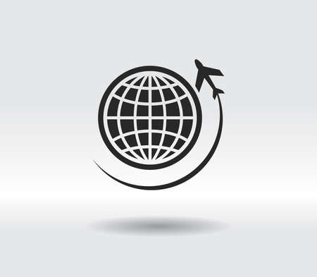 Globe with airplane icon, vector illustration. Flat design style 일러스트