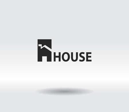 House icon. Sample text. Flat design style