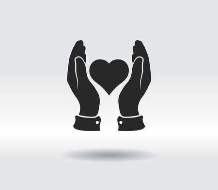 heart in hand icon, vector illustration. Flat design style