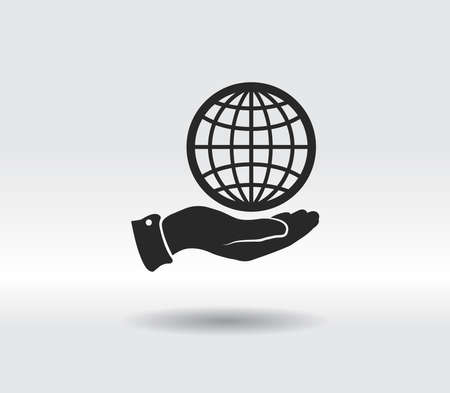 Globe icon with hand, vector illustration. Flat design style