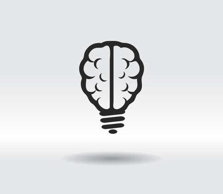 Light bulb brain icon, vector illustration. Flat design style 일러스트