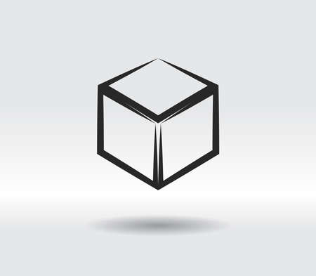 3d cube  design icon, vector illustration. Flat design style