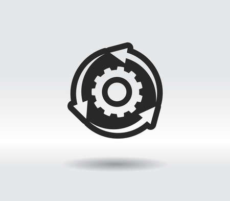 setting parameters, circular arrows icon, vector illustration. Flat design style