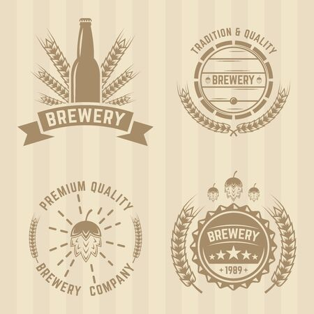 colord: Brewery set of vector colord labels
