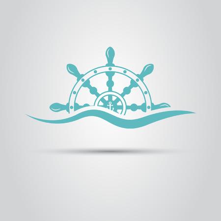 Steuerruder: Helm geht aus Meereswelle Symbol für Schifffahrtsgesellschaften Illustration