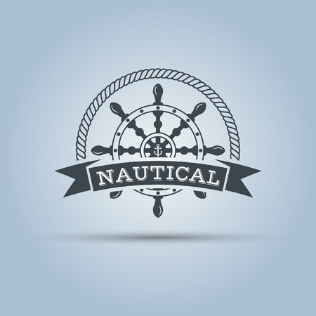 wheel: nautical helm wheel with ribbon for text around which the rope isolated vector label template