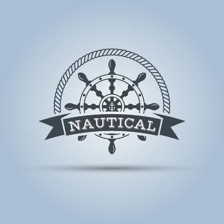 timon barco: rueda de timón náutico con cinta para el texto alrededor de la cual aísla la cuerda del vector plantilla de etiqueta Vectores