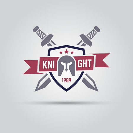 shield which shows knight helmet and behind which two crossed swords with riboon for text isolated vector sport team emblem template